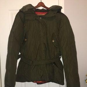 DKNY olive green coat with detachable hood